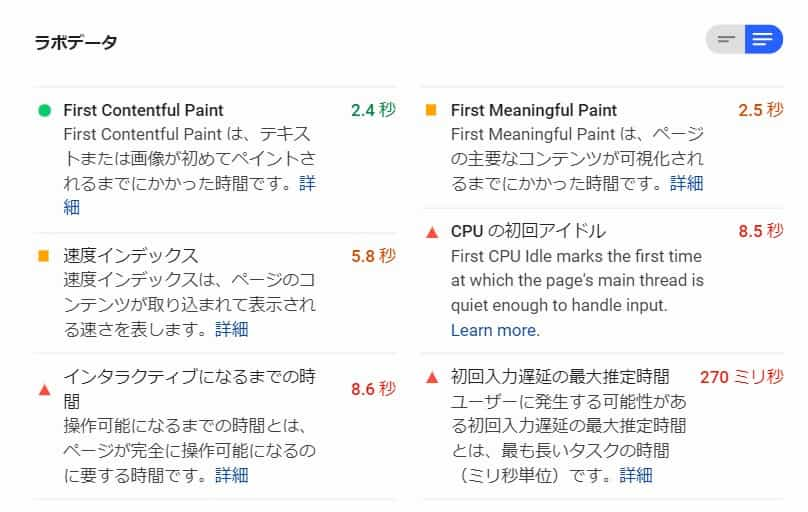 PageSpeedInsightsラボデータ