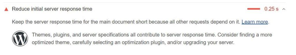 PageSpeedInsights「サーバーの初期応答時間を短縮する」