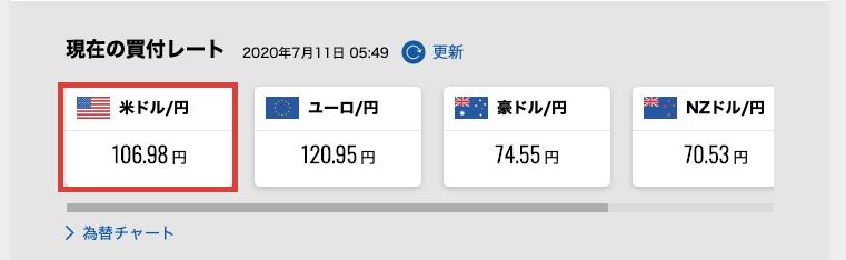 米ドル/円を選択